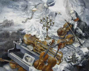"Five Violins of Paganini 20"" x 16"""
